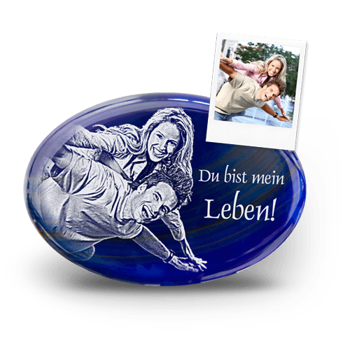Edelstein mit Fotogravur Achat Blue Ocean
