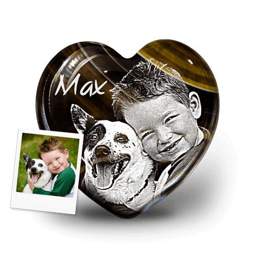 Individuellbesonders - Glücksbringer Herz mit Fotogravur - Onlineshop My Pebbles